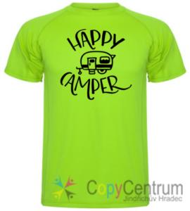 Pánské tričko happy camper limetkové