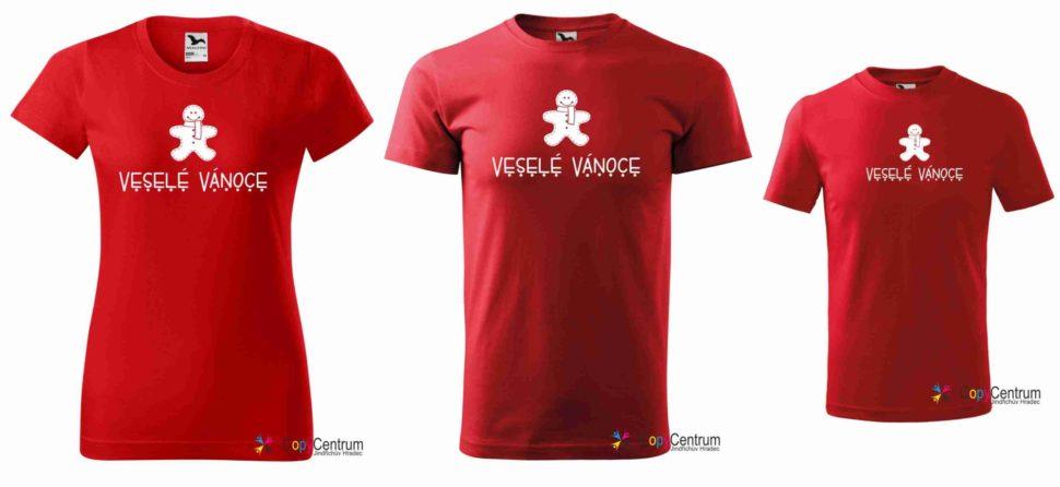 Rodinné červené vánoční tričko