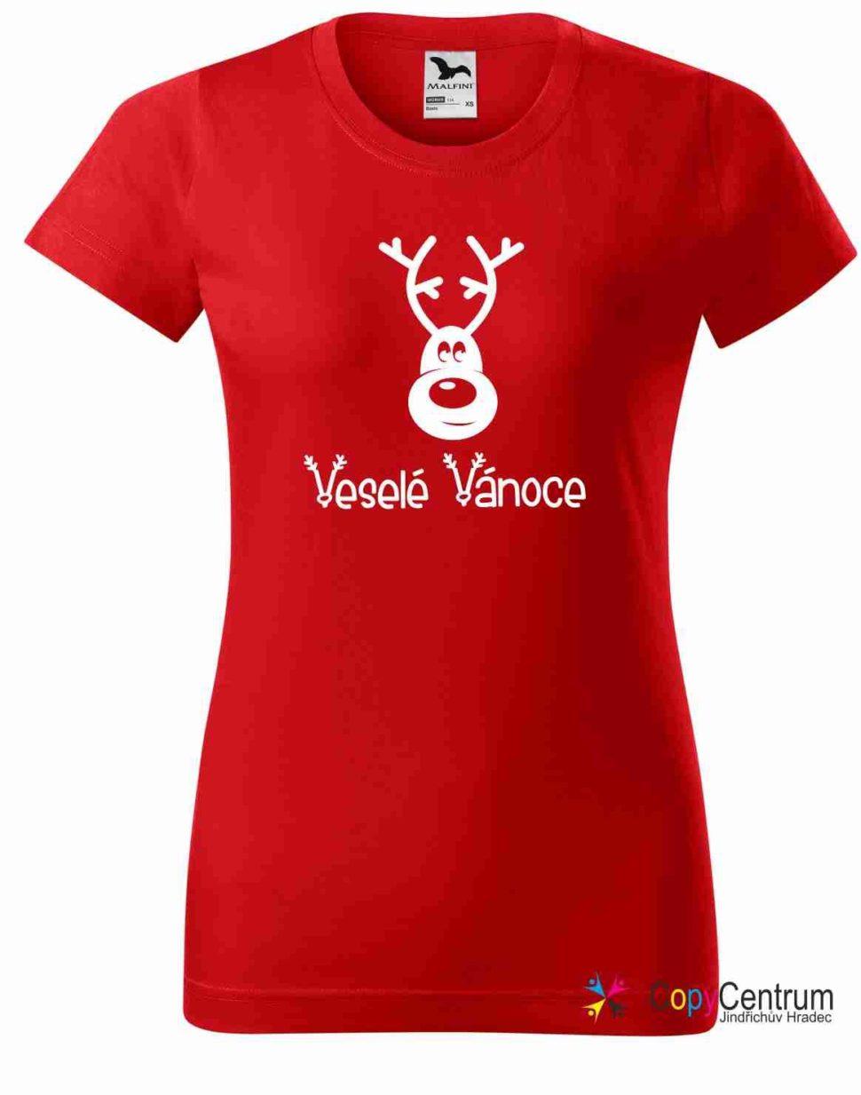 Dámské červené vánoční tričko