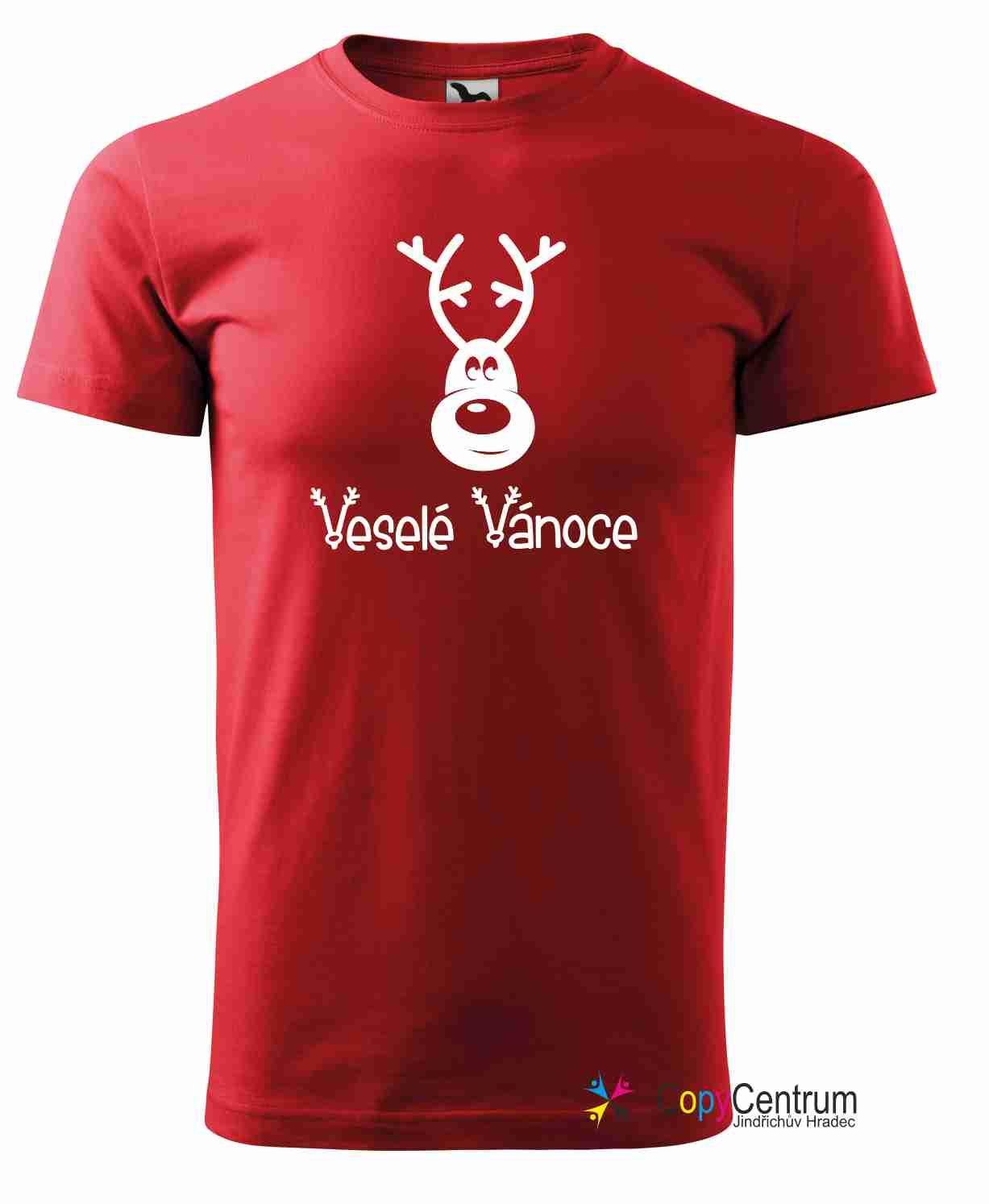 Pánské červené vánoční tričko