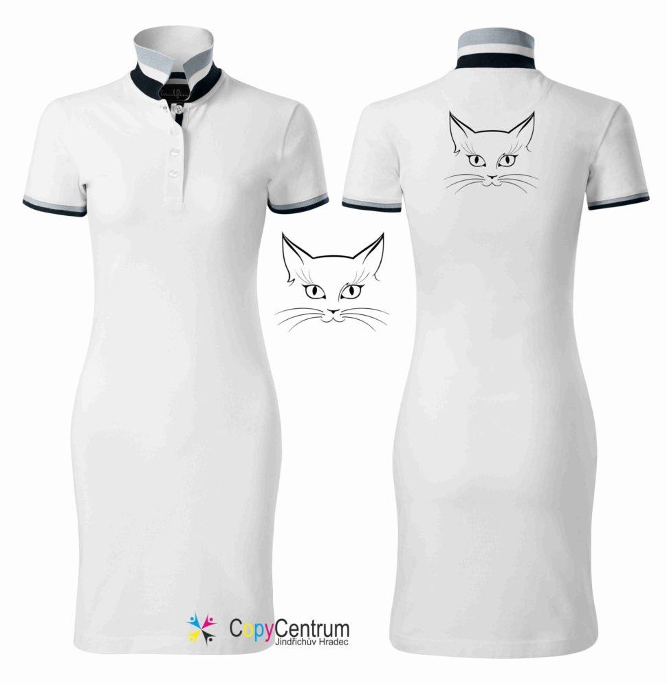 Luxusní dámské šaty bílé spotiskem