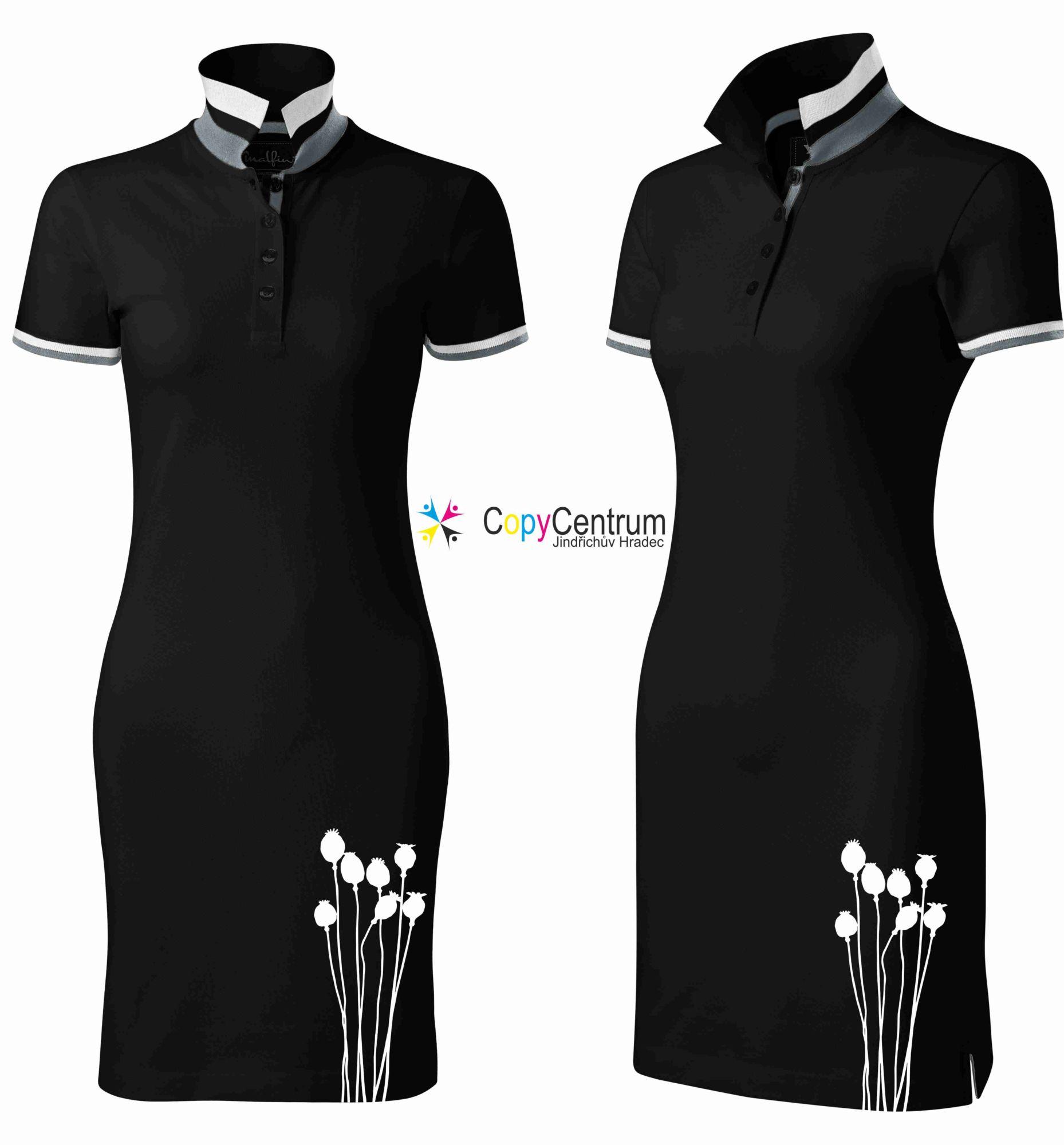 Luxusní dámské šaty černé spotiskem
