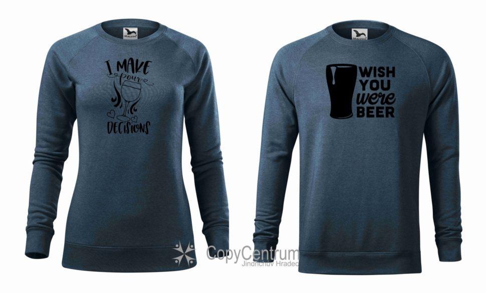 Párová mikina modrá víno a pivo